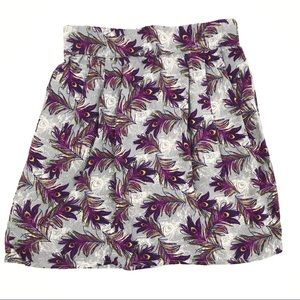 Peacock feather print pleated skirt